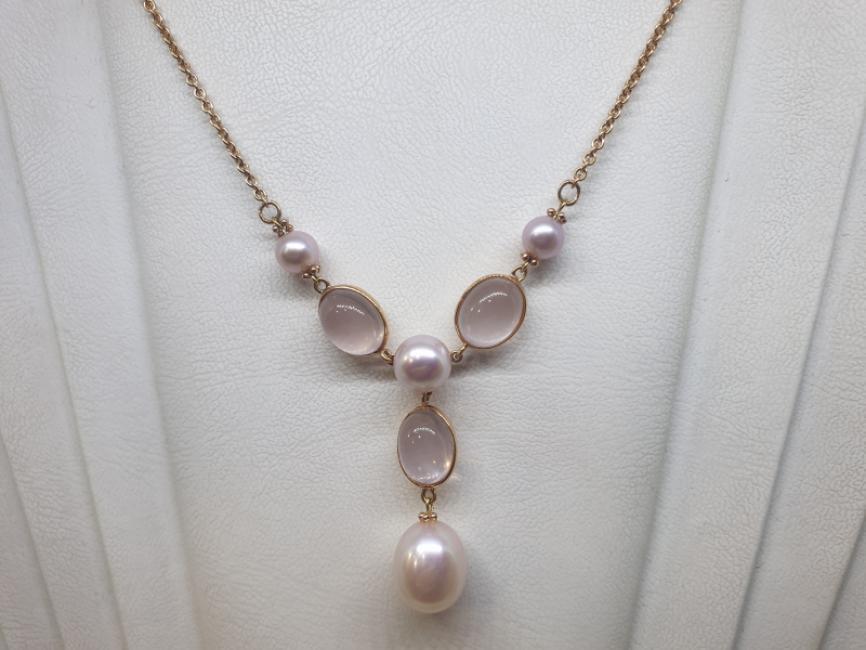 Zlatna ogrlica sa roze biserima