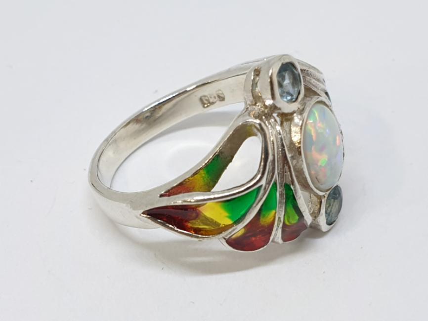 Srebrni prsten sa opalom i akvamarinom na emajlu