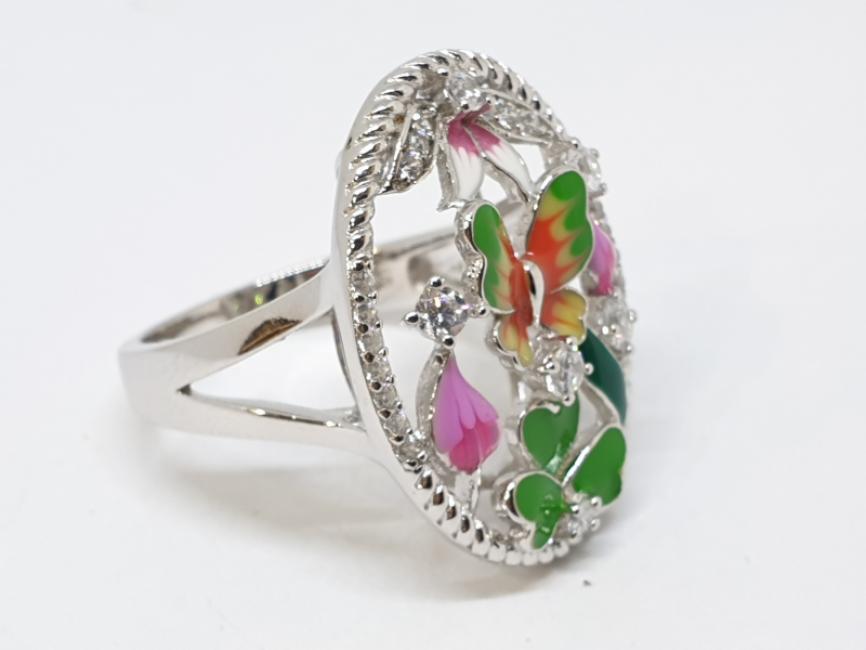 Srebrni prsten sa leptirom i cvetićima