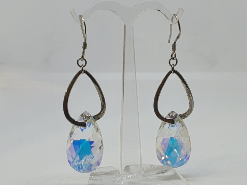 Srebrne mindjuše visece sa kristalom