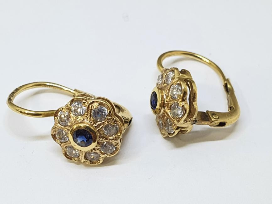 Mindjuše od žutog zlata cvetic sa plavim safirom i cirkonima