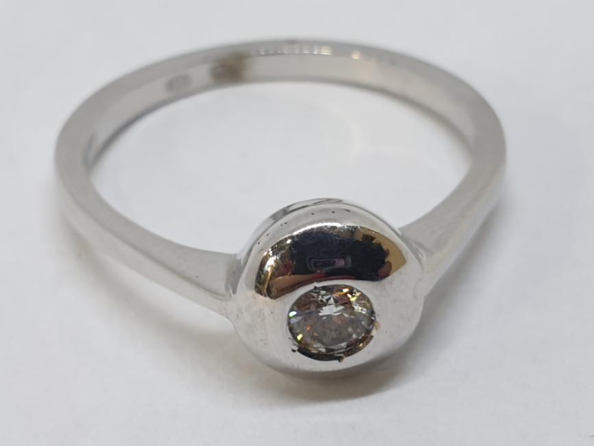 Verenički prsten od belog zlata sa brilijantom